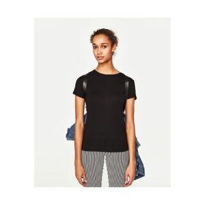 Zara Woman Black Short Sleeve T-Shirt. Size Small.